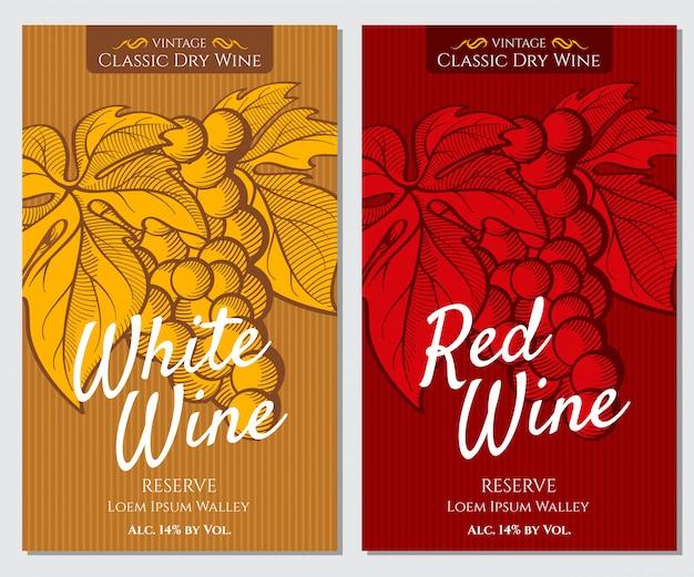Conjunto de etiquetas brilhantes para vinho branco e tinto