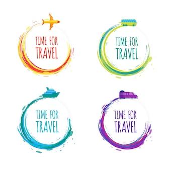 Conjunto de etiquetas coloridas de aquarela de vetor para viagens