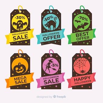 Conjunto de etiquetas coloridas de venda de halloween