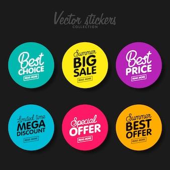 Conjunto de etiquetas coloridas modernas para saudações e promoção