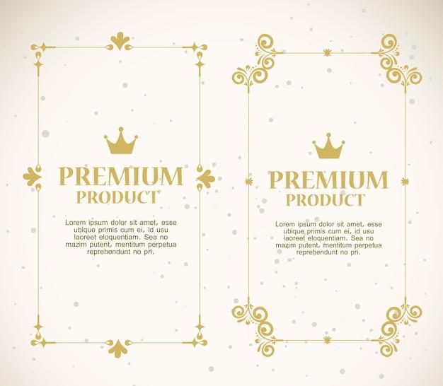 Conjunto de etiquetas com molduras douradas decorativas