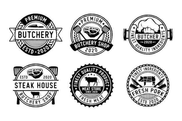 Conjunto de etiquetas de açougue, emblemas e elementos de design
