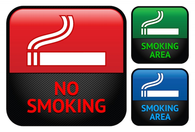Conjunto de etiquetas de adesivos para a área não fumantes