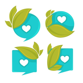 Conjunto de etiquetas de água e folhas