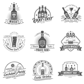 Conjunto de etiquetas de álcool