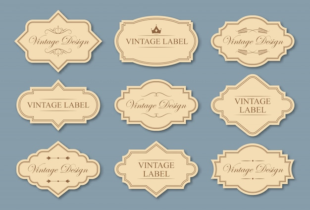 Conjunto de etiquetas de artesanato retrô
