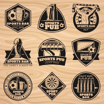 Conjunto de etiquetas de barra esportiva preta vintage