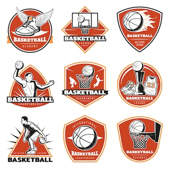 Conjunto de etiquetas de basquete vintage coloridas