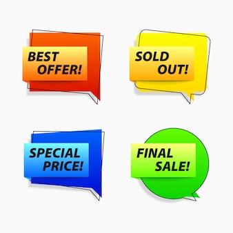 Conjunto de etiquetas de bolha de discurso de vendas