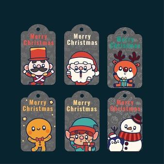 Conjunto de etiquetas de boneco de neve de natal