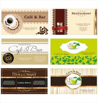 Conjunto de etiquetas de café e chá