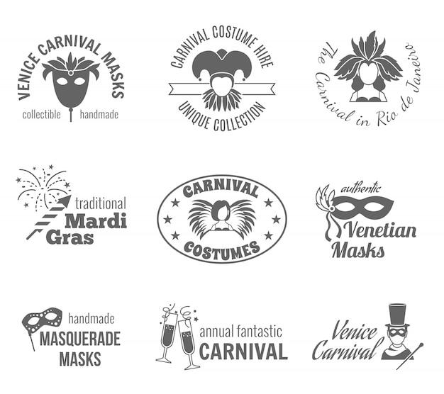 Conjunto de etiquetas de carnaval