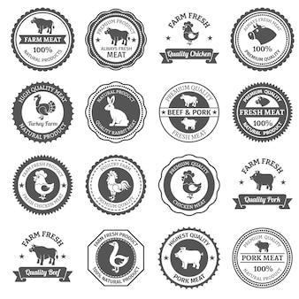 Conjunto de etiquetas de carne