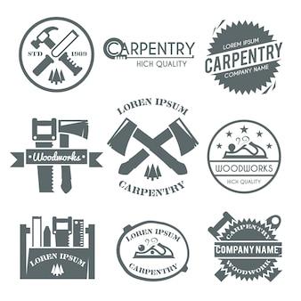 Conjunto de etiquetas de carpintaria