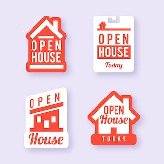 Conjunto de etiquetas de casa aberta