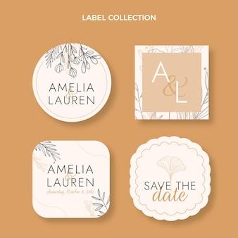 Conjunto de etiquetas de casamento desenhado à mão