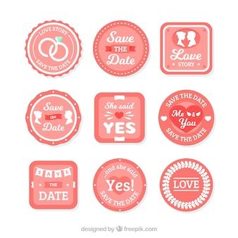 Conjunto de etiquetas de casamento vermelho