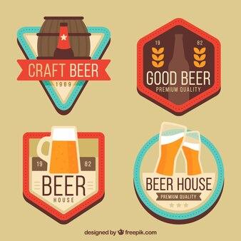 Conjunto de etiquetas de cerveja plana