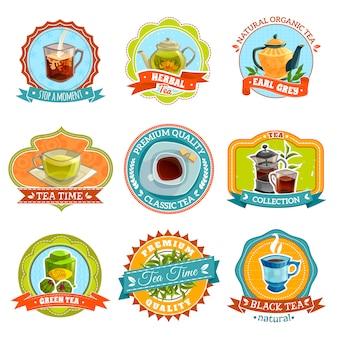 Conjunto de etiquetas de chá