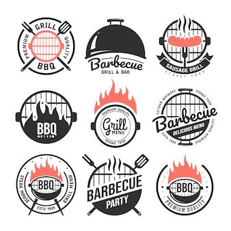 Conjunto de etiquetas de churrasco e grelha.