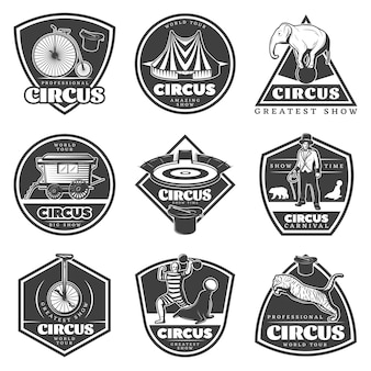 Conjunto de etiquetas de circo monocromático vintage