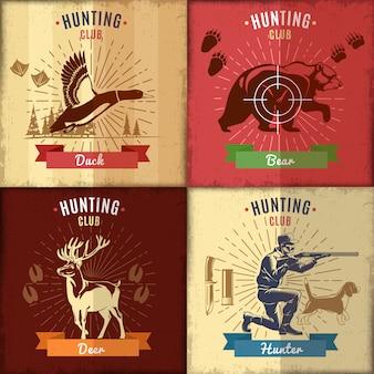 Conjunto de etiquetas de clube de caça