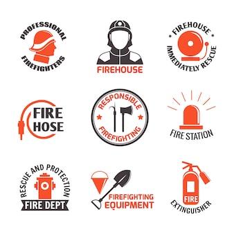 Conjunto de etiquetas de combate a incêndios