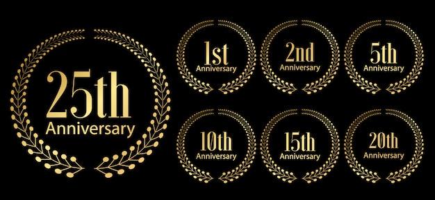 Conjunto de etiquetas de comemoração de aniversário dourado