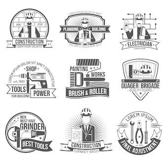 Conjunto de etiquetas de construção