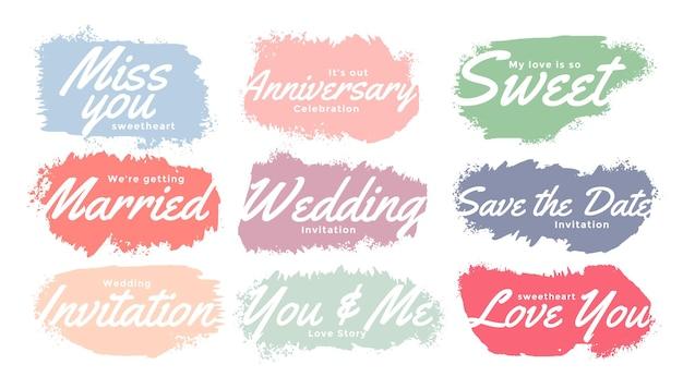 Conjunto de etiquetas de convite de casamento em aquarela