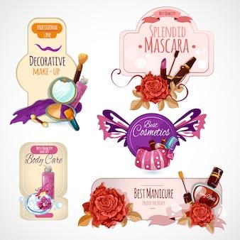 Conjunto de etiquetas de cosméticos