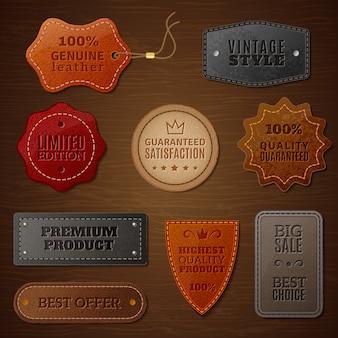 Conjunto de etiquetas de couro