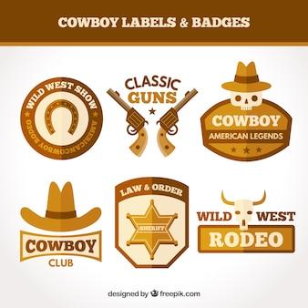 Conjunto de etiquetas de cowboy marrom