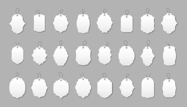 Conjunto de etiquetas de desconto brancas com várias formas. oferta especial etiquetas com cordão