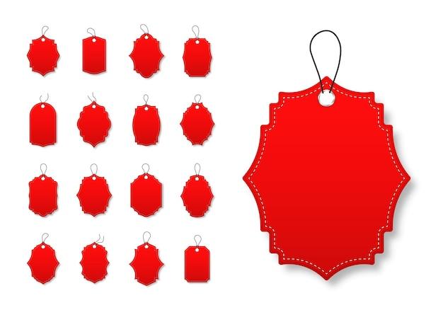 Conjunto de etiquetas de desconto vermelhas com várias formas. oferta especial etiquetas com cordão
