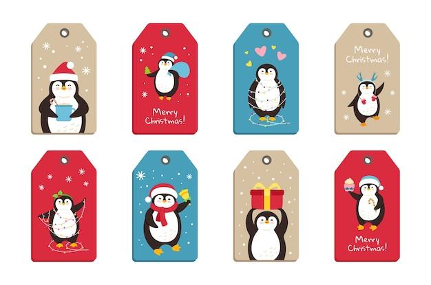Conjunto de etiquetas de desenhos animados de natal de pinguins
