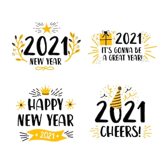 Conjunto de etiquetas de design plano para o ano novo 2021