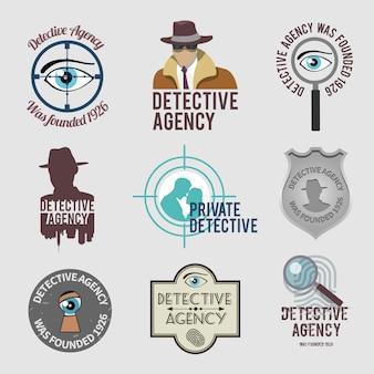 Conjunto de etiquetas de detetive