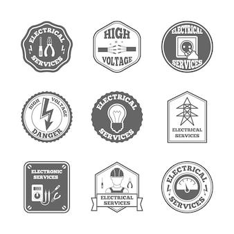 Conjunto de etiquetas de eletricidade