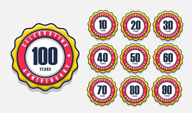 Conjunto de etiquetas de emblemas com design de 10 a 100 anos