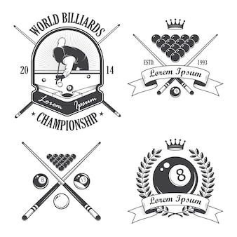 Conjunto de etiquetas de emblemas de bilhar e elementos desenhados