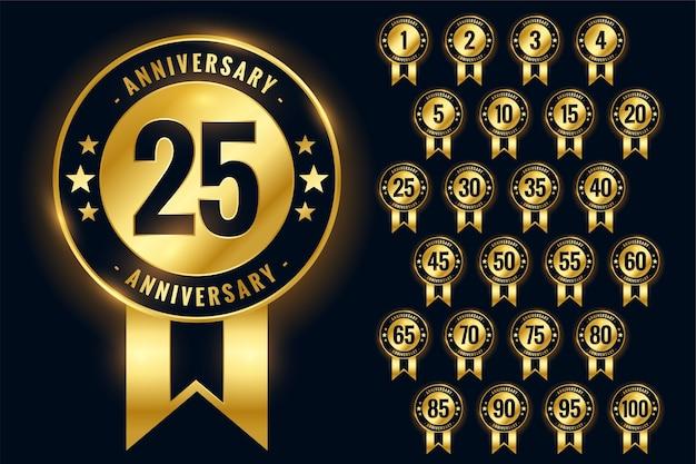 Conjunto de etiquetas de emblemas dourados de aniversário ou logotipo do emblema