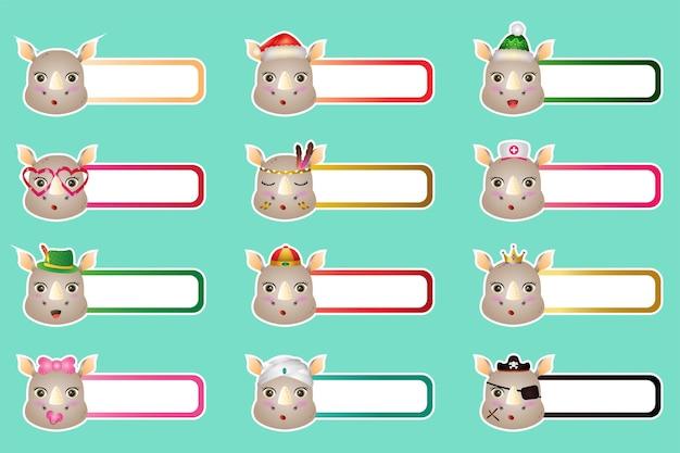 Conjunto de etiquetas de etiquetas de rinoceronte fofinho, nome ou coleção de etiquetas
