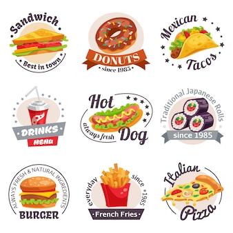 Conjunto de etiquetas de fast-food