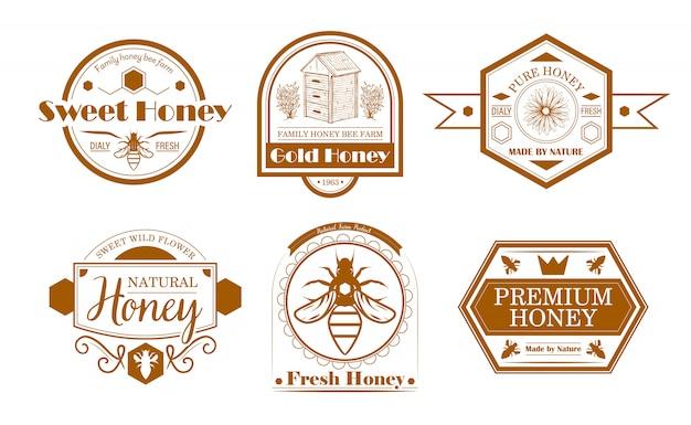 Conjunto de etiquetas de fazenda de abelha