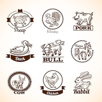 Conjunto de etiquetas de fazenda