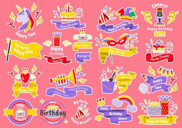 Conjunto de etiquetas de festa