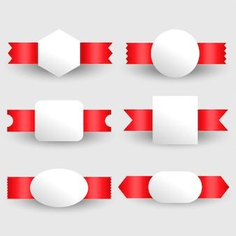Conjunto de etiquetas de fitas em branco