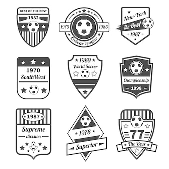 Conjunto de etiquetas de futebol
