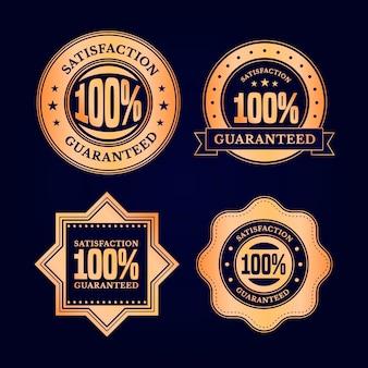 Conjunto de etiquetas de garantia de cem por cento